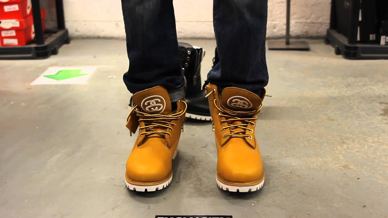 b8b5bffc Timberland X Stüssy 6 inch Boots - Wheat - On-feet Video at Exclucity