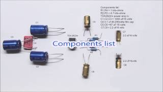 TDA2822 circuit diagram. 1 watt stereo amplifier