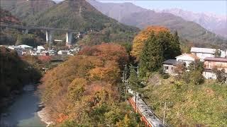 懐かしい上越線水上諏訪峡 紅葉の湘南型電車