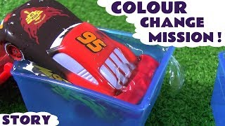 Pixar Cars color changing Lightning McQueen helps Batman save the day toy cars story