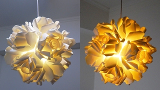 Paper cup rose pendant DIY - how to make a hanging light from paper cups - EzyCraft
