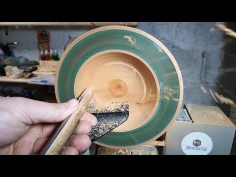 Woodturning - A Mahogany, Stone and Resin Bowl