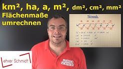 Maßeinheiten umrechnen - Flächenmaße - km², ha, a, m², dm², cm², mm² | Lehrerschmidt