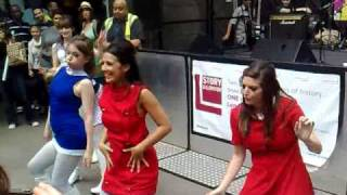 Sixties GO GO girls dance in Carnaby Street 2009