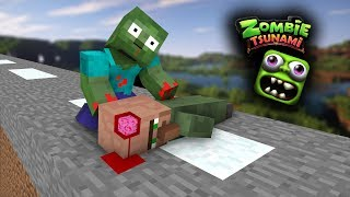 Monster School: ZOMBIE TSUNAMI CHALLENGE  - PART 2 - Minecraft Animation