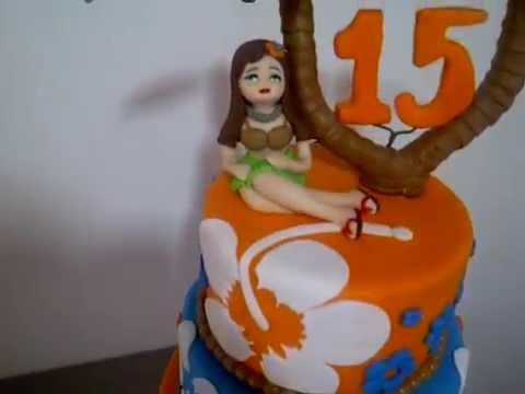 Torta hawaiana para 15 años de color azul rey y naranja - YouTube