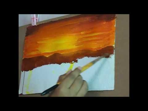 sunset sky acrylic painting
