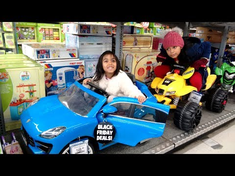 Kids Test Drive Ride On Cars At Toys R Us Shop | Porsche CAT Power Wheels Playtime Fun
