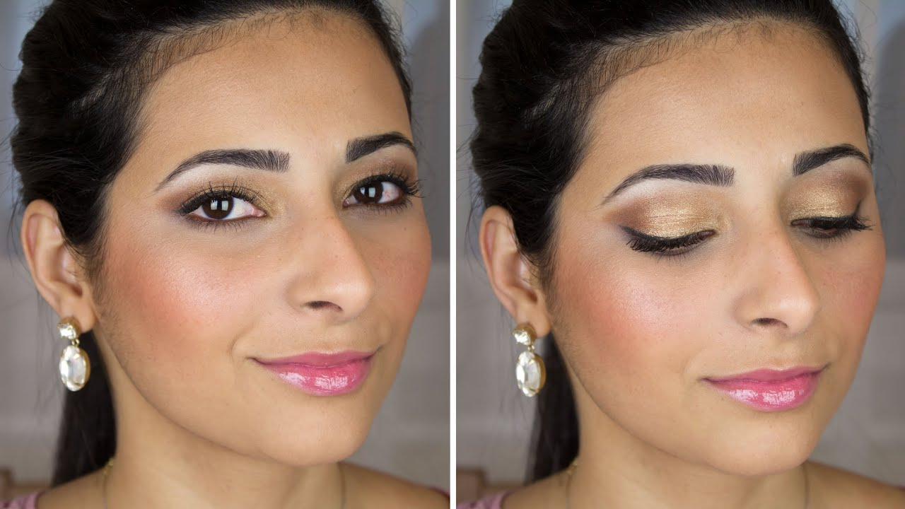 Bridal Makeup Tutorial Brown and Gold Smokey Eye | Le ...