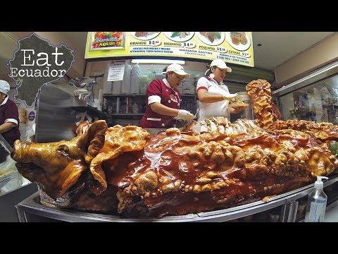 Roast Pig - SUPER CRISPY SKIN - in an Ecuador Market   Where to Eat in Quito