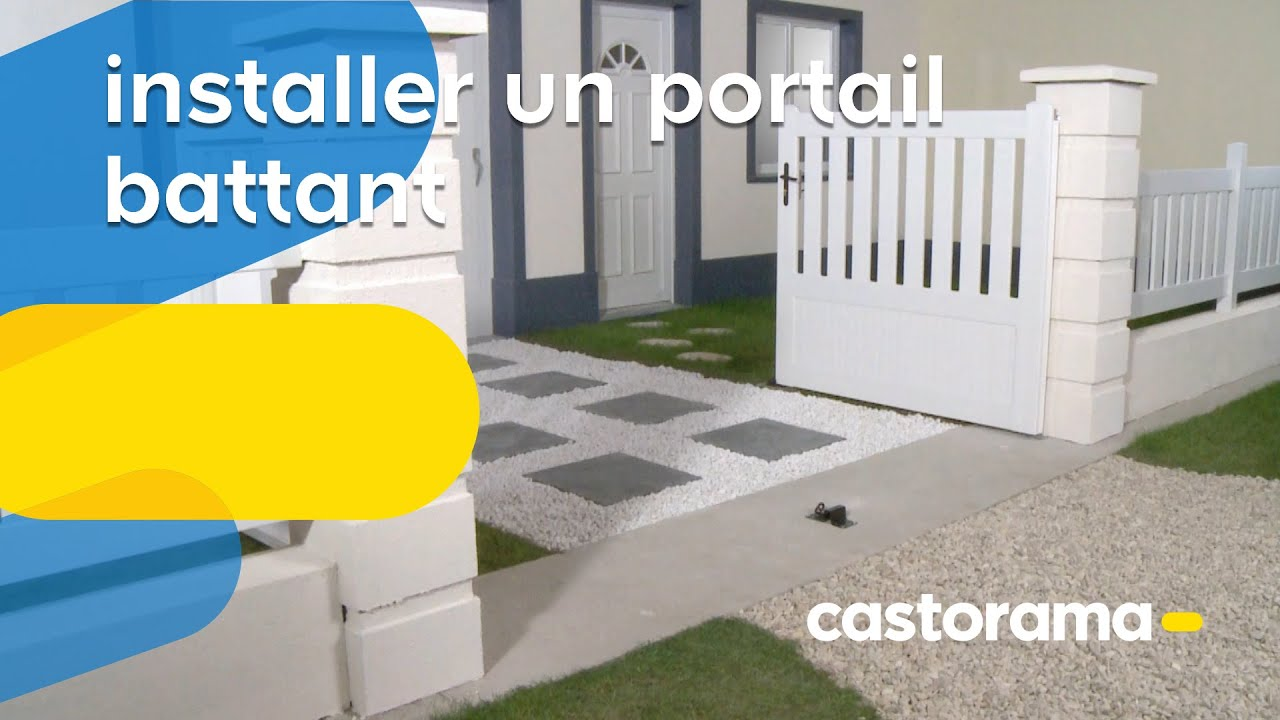 Installer un portail battant (Castorama) - YouTube