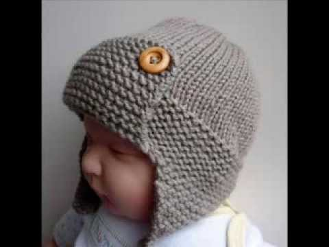 Knitting Pattern For Baby Pilot Hat : Baby Aviator Hat Regan - Knit Baby Hats Pattern Presentation - YouTube