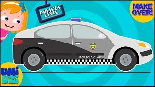 Brazil police car make over Video For Kids and toddlers