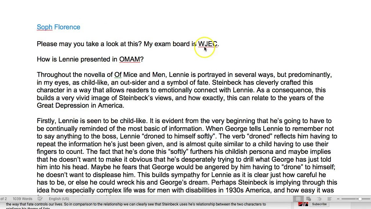 learn how to write about lennie in of mice and men thanks soph  learn how to write about lennie in of mice and men thanks soph