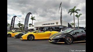 Supercars Arriving to Exotics & Espresso. Supercar Paradise at Prestige Imports - Lamborghini Miami