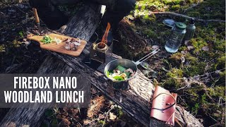 Woodland Lunch: Making a siṁple meal with the Firebox Nano and Trangia Alcohol Stove