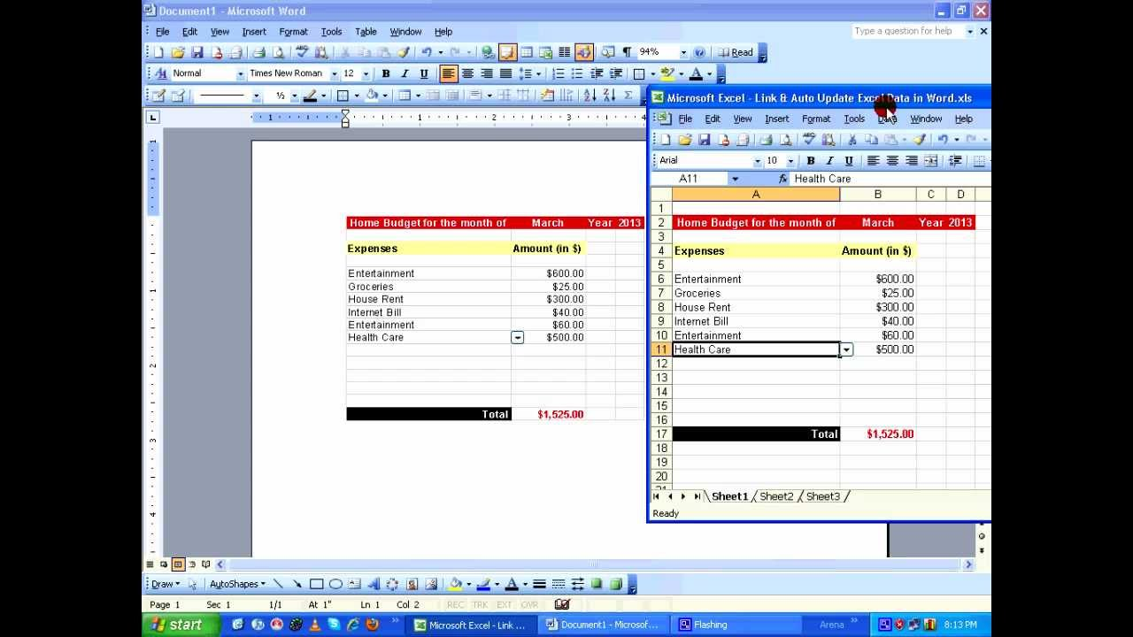 worksheet Link Data In Excel Worksheets dynamically link and auto update excel data in word using paste special hd youtube