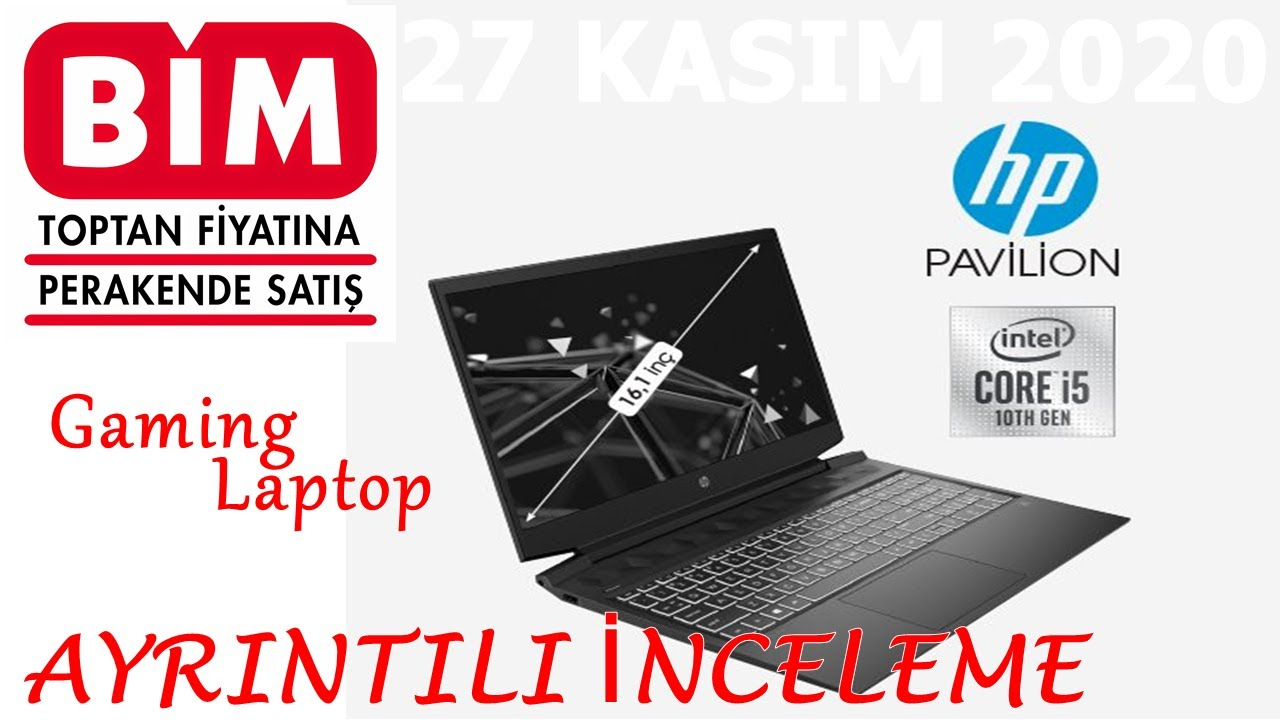 BİM 27 KASIM 2020 | HP PAVILION 16 İNÇ GAMING LAPTOP , Intel i5, 8Gb RAM, 256SSD, Dizüstü Bilgisayar
