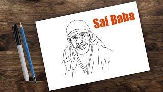 Drawing Sai baba step by step | Shirdi Sai baba
