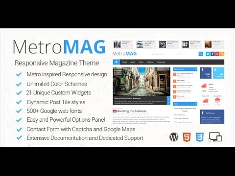 Metro Magazine Responsive WordPress Theme Free Download - YouTube