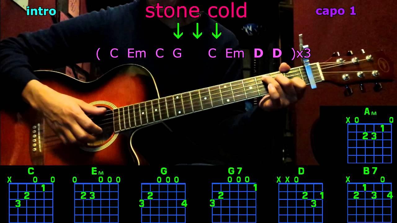 stone cold demi lovato guitar chords - YouTube