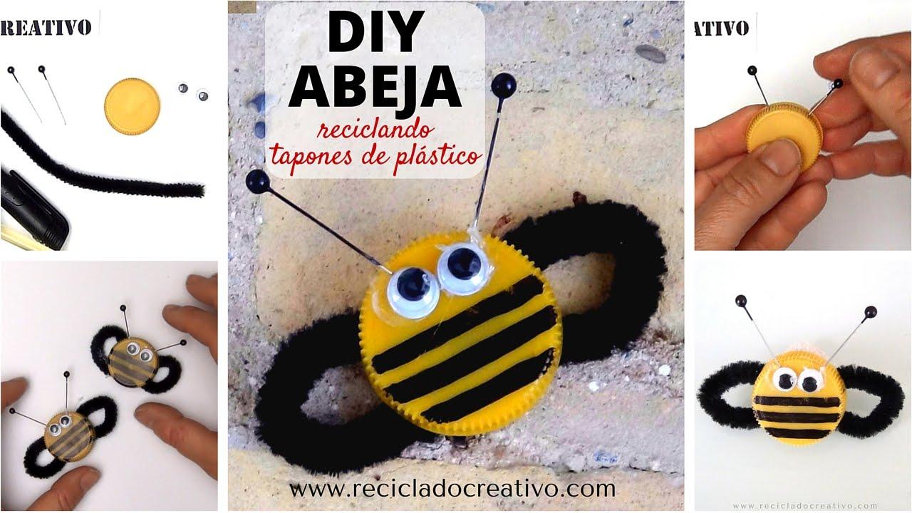 C mo hacer una abeja manualidad para ni os con tapones de - Como hacer una manualidad ...