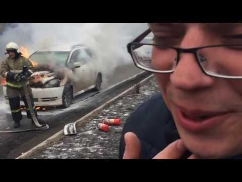 Появилось видео, как горит автомобиль в Шушарах