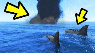 GTA 5 - MEGALODON Shark vs. TORNADO!!