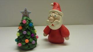 как слепить Деда Мороза  из пластилина (Modelling Clay Santa)