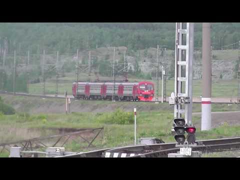 Электропоезд ЭД4М-0080 сообщением Челябинск - Златоуст