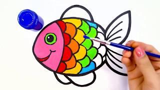 Vẽ và tô màu Con Cá Xinh