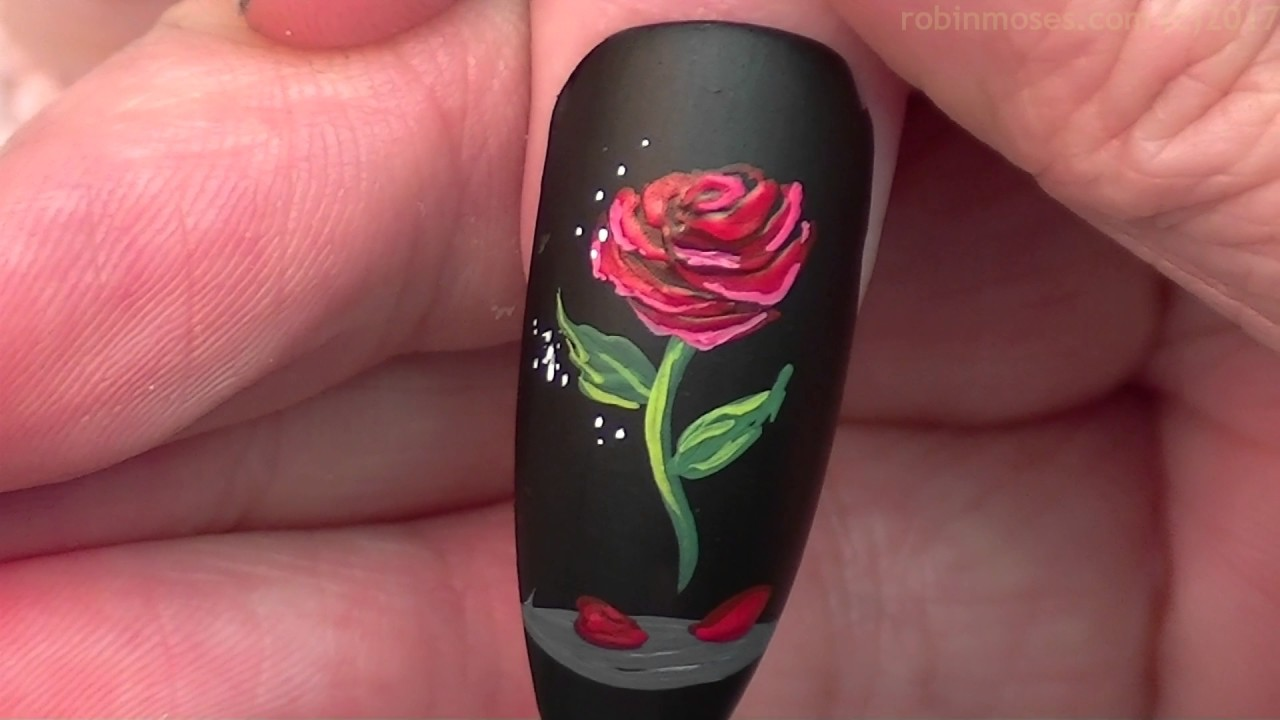 #Inspiredbyrobinmoses #robinmosesnailart #nailartsisterhood - The Enchanted Rose Nails Beauty And The Beast Nail Art Design