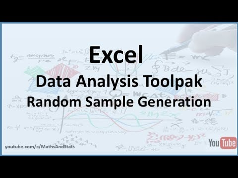 Excel Data Analysis Toolpak How To Generate A Random Sample Of