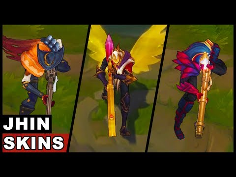 All Jhin Skins Spotlight SKT T1 Blood Moon High Noon (League of Legends)