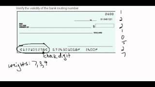 Validity of a Bank Routing Number