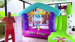 Alicia y Eva - sus juegos con papá en el trampolín