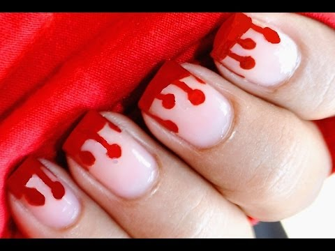 Dripping Blood Nails: Halloween Nail Art For Kids - YouTube