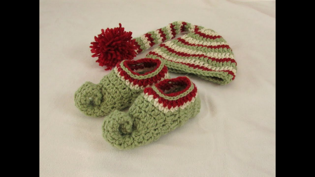 How to crochet a children\'s elf hat - crochet Christmas elf set PART ...