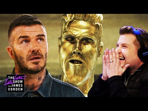 The Pat And Aaron Show - James Corden Hilariously Pranks David Beckham With Fake Statue