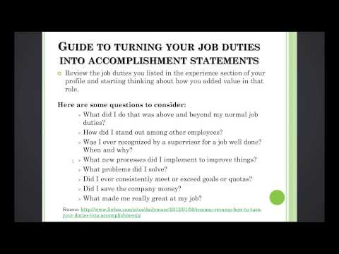 3.11 Turn Your Job Duties into Accomplishment Statements - Create an Expert LinkedIn