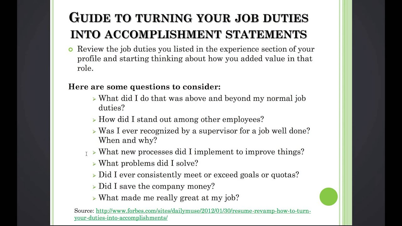 3 11 turn your job duties into accomplishment statements