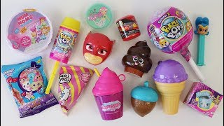 - Toy candy dispensers opening Pikmi Pops, squishies, glitter putty, slime and surprises
