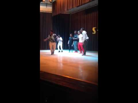 Team Explosion featuring Jae'lin Bryant performing at the SHS talent show.