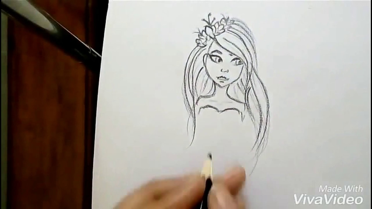 How to draw a pretty girl cartoon easy drawing tutorial