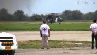 Liberación de secuestrados: Llegada de los helicópteros al aeropuerto Alfonso Bonilla Aragón