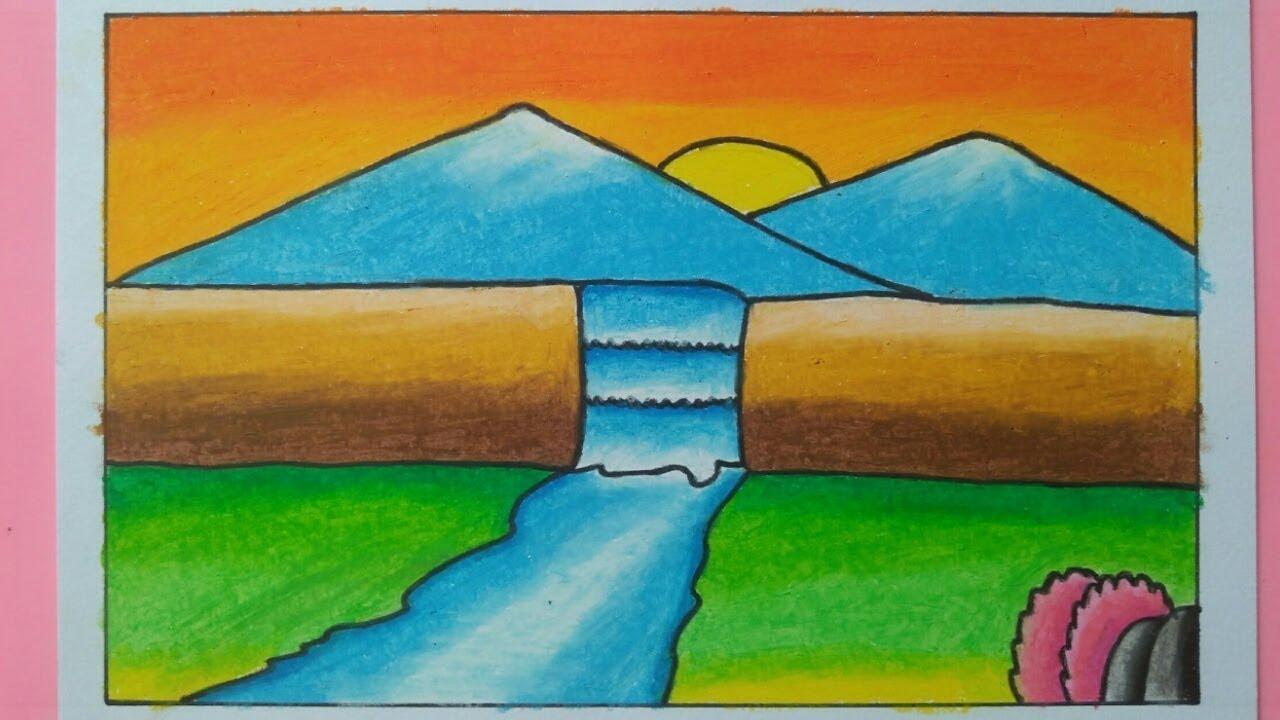 Cara Menggambar Dan Mewarnai Pemandangan Air Terjun Sederhana