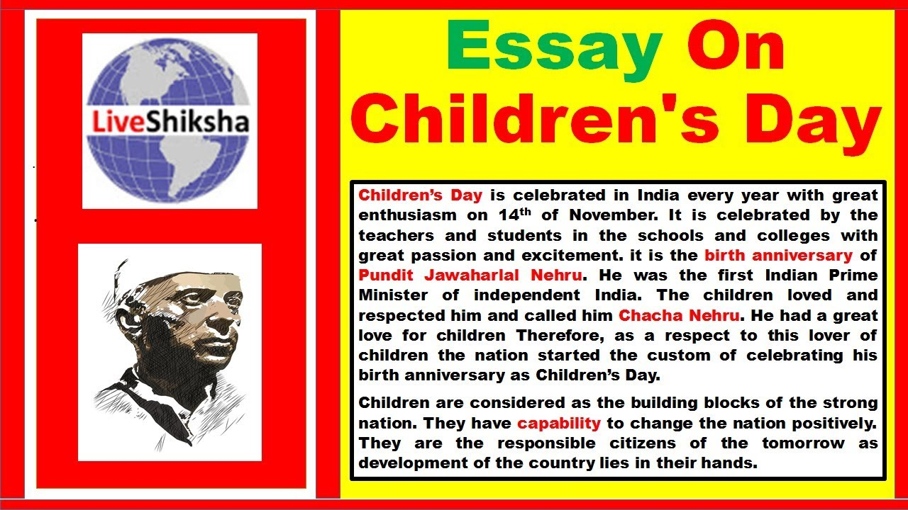 Essay On Childrens Day In English  Childrens Day Essay In English  Essay On Childrens Day In English  Childrens Day Essay In English   Words