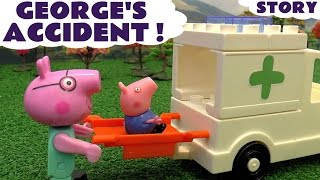Peppa Pig George Accident Thomas and Friends Play Doh  Construction Set Toys & Ambulance