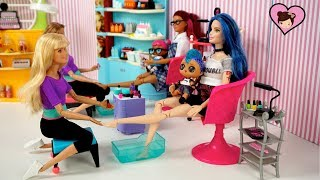 Barbie Doll Beauty Salon with LOL Families! - Baby Doll Spa Hair Wash and Nail Polish