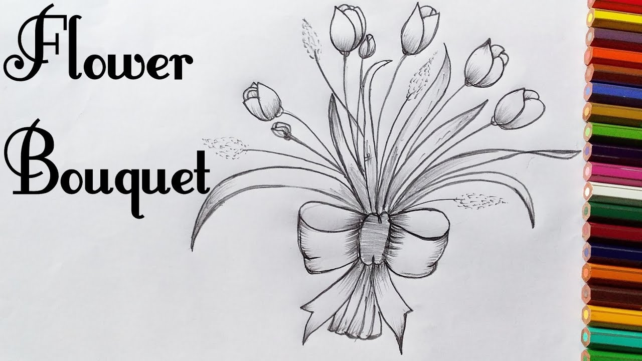 How To Draw A Flower Bouquet How To Draw A Tulip Flower Bouquet 2019 Step By Step Quick And Easy Youtube